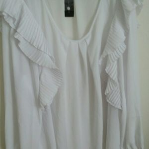 Lane Bryant White Ruffled Blouse
